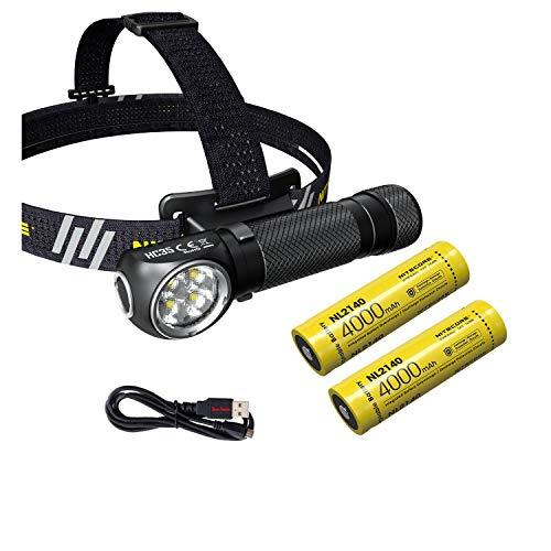 Nitecore HC35 Rechargeable LED Headlamp - 2700 Lumen - 2x 21700 battery & Eco-Sensa USB Charging Cable