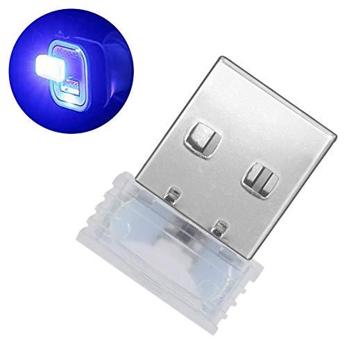 Muzhili3 LED Nachtlicht, Mini USB LED Beleuchtung Auto Innenraum Atmosphäre Licht Dekorative Ambiente Lampe – Weiß blau
