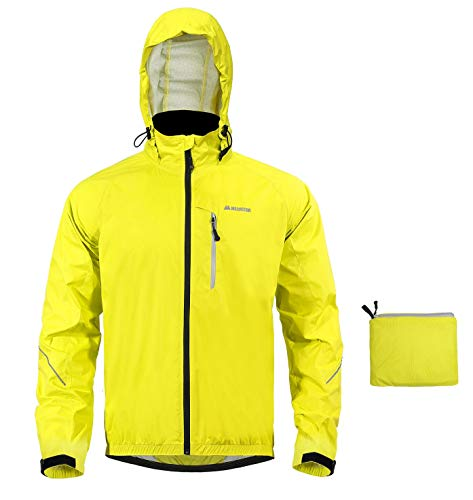 MECASTAR Men`s Cycling Jackets Lightweight Running Coat with Reflective Tape Windproof Waterproof (Yellow, Large)