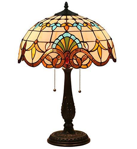 NANXCYR Lámpara de Mesa de vidrieras de Estilo Tiffany Barroco con Base de Metal de 15.74 Pulgadas de Ancho para la habitación de la Sala de Estar Dormitorio, Interruptor de Cadena de tirón