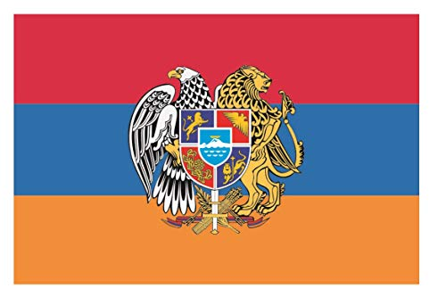 U24 Fahne Flagge Armenien mit Wappen Bootsflagge Premiumqualität 120 x 180 cm