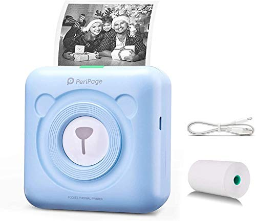 Sanyipace Pocket Photo Printer, Mini HD Bluetooth Thermal Printers, Small Printer for Phone, Portable Label Sticker Receipt Printer Compatible with Android/iOS/Windows for Kids Study, Painting (Blue)