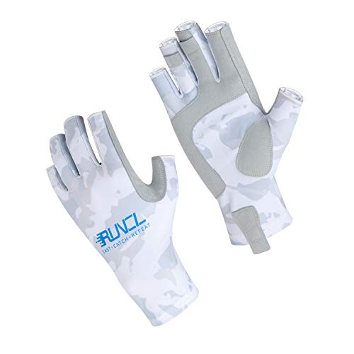 RUNCL Fishing Gloves, Fingerless Gloves, Sun Gloves - Stretch Fit, Breathable Ventilation, Sun Protection, Fingerless Design, Angling-Specific Design - Fishing, Kayaking, Cycling (Camo White, XXL)