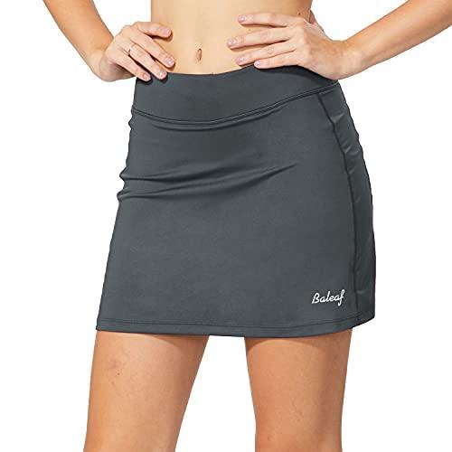 BALEAF Damen Tennis Skort Tennisröcke Sport Hosenrock mit Tasche & Innenhose für Laufen Tennis Golf Grau XL