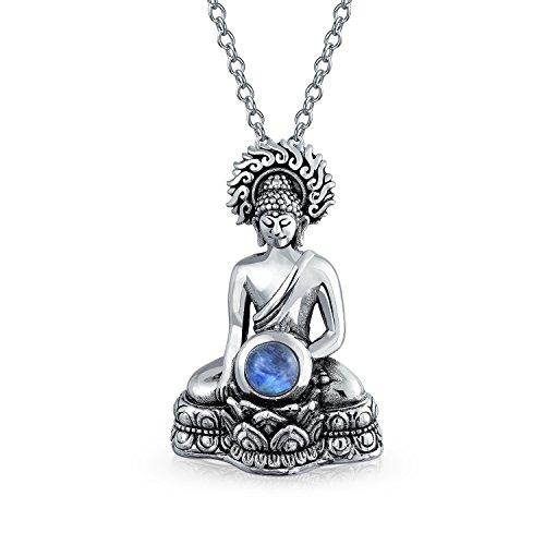 Bling Jewelry Regenbogenmondstein Amulett Thai Sitting Buddha Anhänger Mit Kette Für Damen Für Jugendlich 925 Sterling Silber Kette
