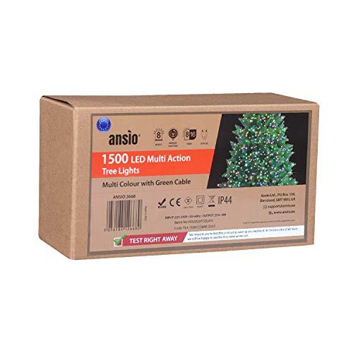 ANSIO Luci natalizie per interni e esterno 1500 LED albero luci Multicolore, 8 modalità con memoria e funzione timer, alimentate, trasformatore incluso 37,5 m/123ft Lunghezza illuminata- CAVO VERDE