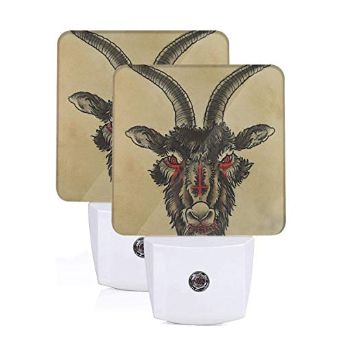 njfhgk Plug-in Led Night Lamp with Light Auto Sensor Inverted Red Cross Goats Head Bathroom Toilet Bedroom Wall Decorative Daylight White for Kids Childrens