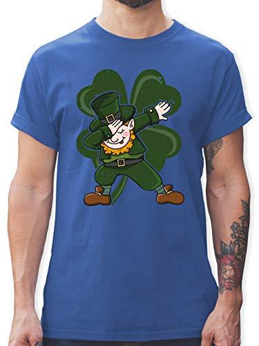 St. Patricks Day - Dabbing Leprechaun mit Kleeblatt - XXL - Royalblau - Statement - L190 - Tshirt Herren und Männer T-Shirts