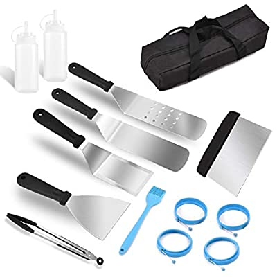 bigsnowball Griddle Accessories BBQ Tool Set - Heavy Duty Professional Grade Grilling Kit Stainless Steel - Perfect Grill Utensils Set with Brush–Outdoor and Indoor BBQ Accessories