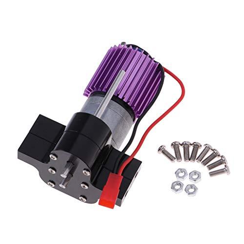 FLAMEER 370 Motor + Caja de Cambios Central + Disipador de Calor Set Accesorios para JJRC Q60 Q61 WPL 1:16 Pickup Camión - Negro