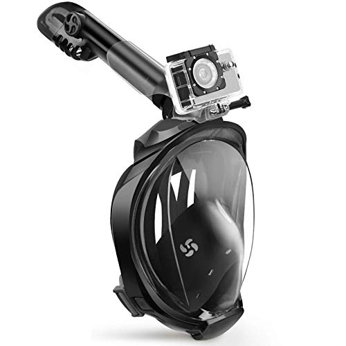 X99 Schnorchelmaske Tauchermaske vollmaske180-Grad-Sicht Tauchmasken,Tauchmaske Schnorchel Maske mit Panorama Vollgesichtsdesign,Sportkameras Kompatible Taucherbrille für Erwachsene
