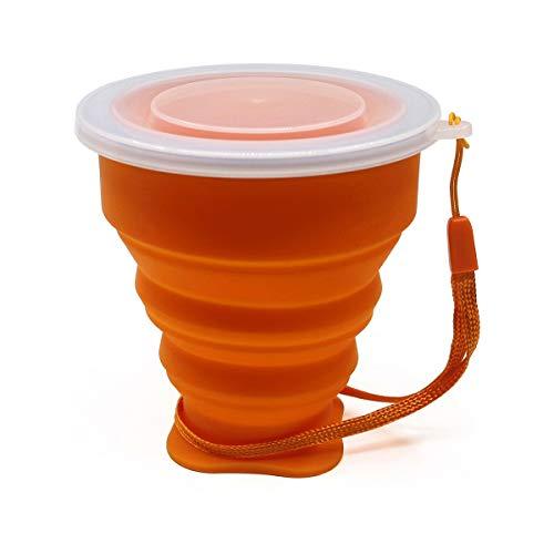 PPuujia Taza de café pequeña pequeña mini telescópica portátil de silicona plegable con cubierta Dstproof tazas de café al aire libre niños viaje beber agua (color: naranja 1 pieza)