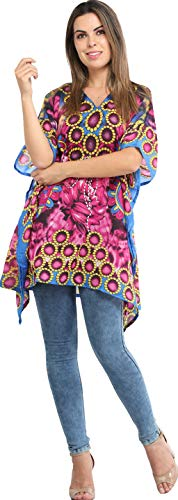 Exotic India Women's Floral Regular fit Shirt (SEA76-rasberry-sorbetFree Size)