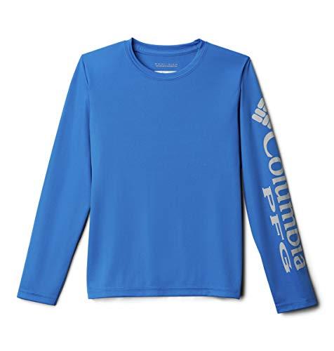 Columbia Boys' PFG Terminal Tackle Long Sleeve Tee , Vivid Blue, Cool Grey, Medium