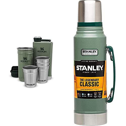 Stanley Adventure Pre-Party Shot Glass + Flask Set Hammertone Green – BPA Free - Stainless Steel Flask & 18-8 Stainless Steel-Double-Wall Vacuum Insulation Water Bottle, Hammertone Green, 1L