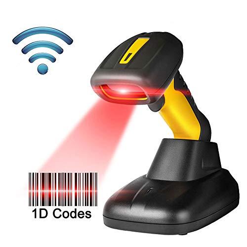 DAETNG Scanner de Codes à Barres sans Fil avec Base Intelligente Compatible, 492 pi de Transmission à Main Longue durée, Lecteur de Codes à Barres Laser sans Fil 1D Portable pour entrepôt
