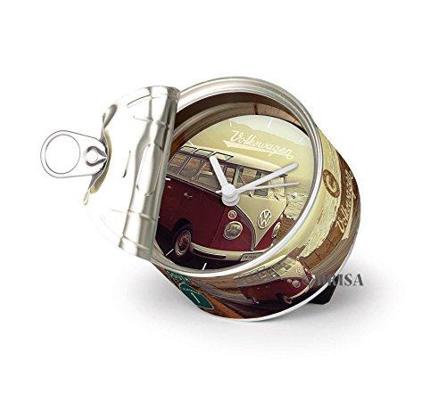 BRISA VW Collection - Volkswagen Magnet-Uhr, MyClock auch personalisierbar, Foto-Geschenk, VW-Fan-Sammler-Stück (VW T1 Bulli Bus T1 Motiv/Highway 1)