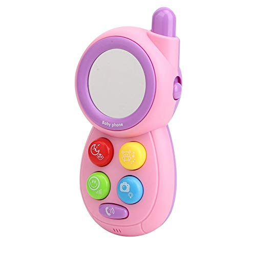 Teléfono móvil de juguete, juguete eléctrico multifuncional para teléfono con música, para bebés, niños, bebés, niños(Rosado)
