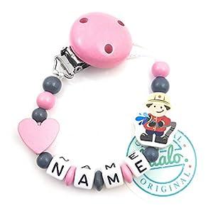 Baby Schnullerkette mit Namen, Feuerwehr, Herz, Rosa, Handmade Namenskette/Schnullerhalter zur Geburt, Geburtstag, Taufe…