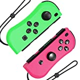 Hohhon JoyCon Controllers Replacement for Nintendo Switch, L-R Wireless Gamepad as Alternative to NS Joy Con Controllers, Switch Remote Controller with Wrist Straps and Charging Cable (Pink/Green)