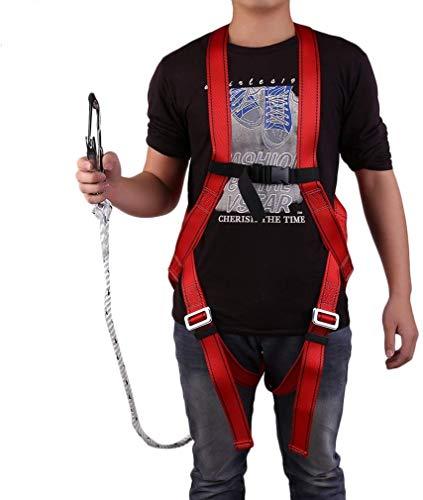 Feketden Absturzsicherung, Fallschutz-Set Absturzsicherung Vollkörper Auffanggurt Fallschutz Geschirr Safety Dachdeckerset Fallsicherung Schutzausrüstung mit 1,5M Seil, 300kg Tragfähigkeit, Rot