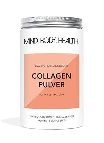 MIND.BODY.HEALTH. COLLAGEN Pulver | Weidehaltung | Kollagen Hydrolysat Peptide | Typ I und II | Geschmacksneutral | in Deutschland hergestellt