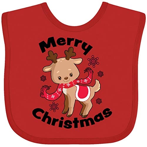 Inktastic Merry Christmas Baby Reindeer with Snowflakes Baby Bib Red 380e7