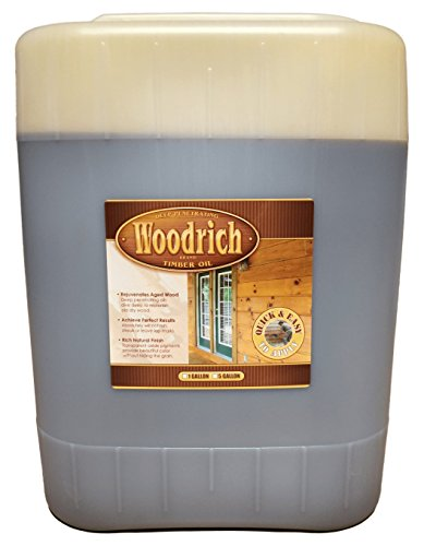 Timber Oil Deep Penetrating Stain for Wood Decks, Wood Fences, Wood Siding, and Log Cabins - 5 Gallon - Woodrich Brand - Covers up to 750 Square Feet - 100% Guaranteed - Easy to Use (Western Cedar)