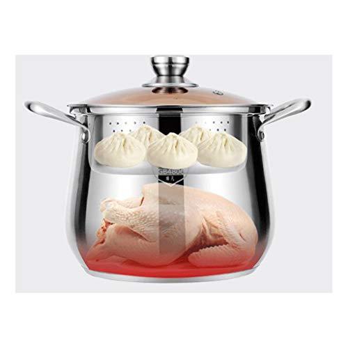 JXLBB avec Cage Drawer Pot À Pot en Acier Inoxydable Épaississement Double Fond Pot À Soupe Grande Capacité Pot À Bouillie Pot À Ragoût Cuisinière À Gaz Universal Pot (Size : S)