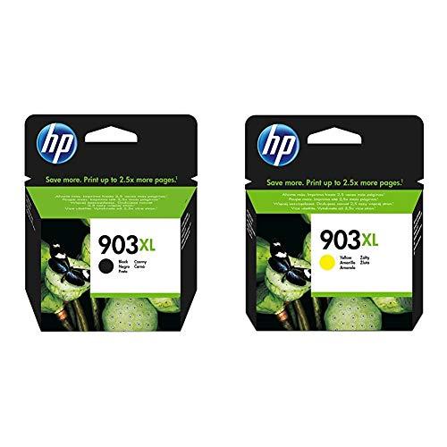 HP 903XL T6M15AE, Negro, Cartucho de Tinta de Alta Capacidad Original + 903XL T6M11AE, Amarillo, Cartucho de Tinta de Alta Capacidad Original