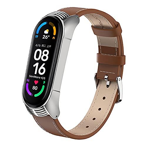 SenMore Kompatibel Für Xiaomi Mi Band 5 Mi Band 4/3 Armband Leder, Armbaender Armband Uhrenarmband Handgelenk Smartwatch Ersatzbänder für Xiaomi Mi Band 5/4/3