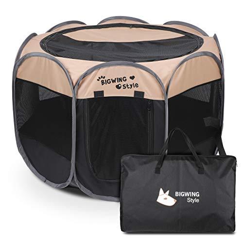 BIGWING Style Box per Cani,2020 Nuovo Pieghevole box,Grande recinto per animali da usare all'interno e all'esterno per cani, gatti, lepri & piccola animali - Facile da montare (L, Beige)