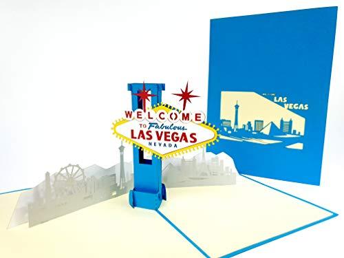 Las Vegas USA 3D Pop Up Grußkarten Jahrestag Baby Geburtstag Ostern Halloween Mutter Vatertag Neujahr Neujahr Thanksgiving Valentine Hochzeit Weihnachten