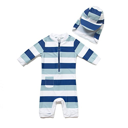 BONVERANO Kids UPF 50+ Sun Protection 3/4 Sleeves One Piece Zip Sunsuit with Sun Hat (3-6 Months, 2Stripes)