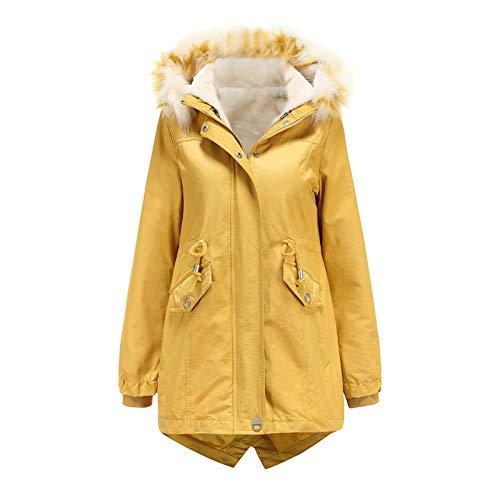 ReooLy - Sombrero Desmontable de Lana de Longitud Media de Invierno para Mujer, Chaqueta cálida, Abrigo de algodón(B2-Amarillo,XXXL)