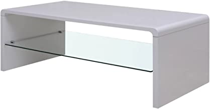 Festnight Modern Coffee Table with Tempered Glass Living Room Table White