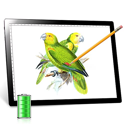 Tracing Light Pad, Rechargeable A4 Light Box with Powerful Battery, UL Adapter, USB Cable, Drawing Light Board for Diamond Painting, Artists Designing, Drawing, Sketching, Animation, Stenciling