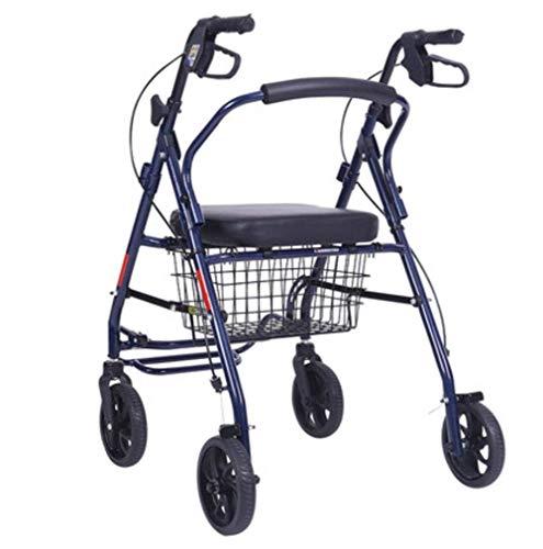 Klappbarer 4-Rad-Einkaufswagen mit gepolstertem Sitz, Rollator Walker für ältere Menschen, abschließbaren Bremsen und leichtem Tragekorb