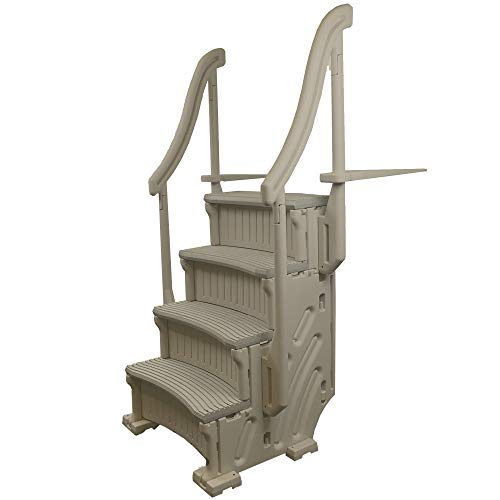 Confer CCX-AG 4 Step Above Ground Swimming Pool Ladder Stair Step Entry System with Handrails, Beige