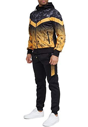 EGOMAXX Herren Trainingsanzug Fitness Jogginganzug Basic Casual Streetwear Sportanzug Gym Set Jacke & Hose, Farben:Gelb, Größe Hosen:XXL