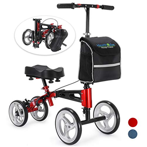 Health Line Massage Products Compact & Portable Knee Scooter Steerable Knee Walker w/Strong Disc Brake and Large Bag, Crutches Alternative for Foot Injuries Ankles Surgery, Hot Red & Black