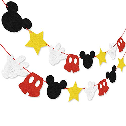 Hooggle Mickey Mouse Party Dekoration Kit, Mickey inspiriert Cupcake Toppers + Mickey Mouse unter dem Motto Filz Garland Geburtstag Party Banner Dekoration Lieferungen