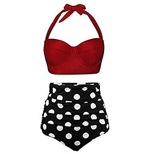 Lazzboy Badeanzug Bikini Set Damen Bademode Retro Stil Polka-Punkt mit Hoher Taille Backless Badebekleidung Strandmode(Rot,M)