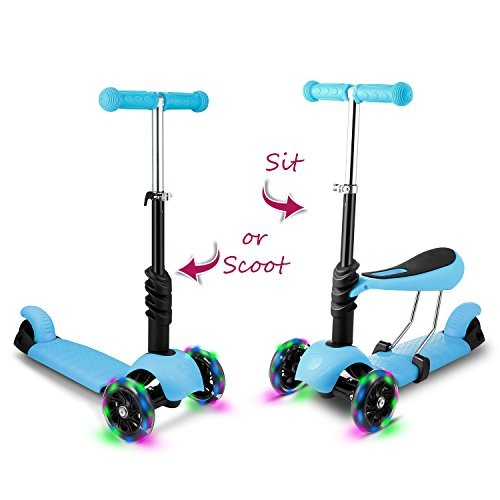 Hikole Kids Toddler Kick Scooter with Seat Three-Wheeled Mini Adjustable Push Fun Exercise Toy Scooter with LED Flashing Wheels, Birthday Gift for Boys Girls Age 2 Up (Blue)