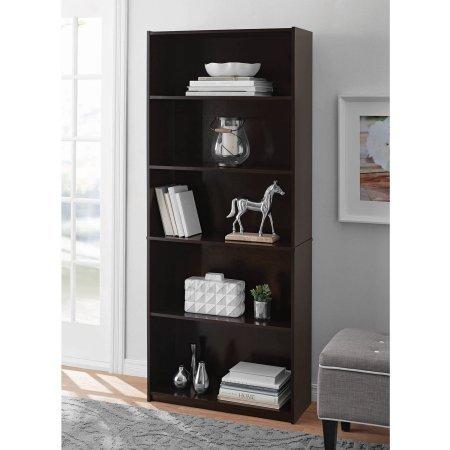 Mainstay 5-Shelf Standard Wood Bookcase - Espresso