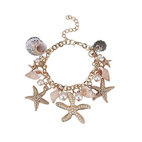 "PH PandaHall Starfish Shell Bracelets Conch Starfish Faux Pearl Anklet Bracelet Charm Women Bohemian Adjustable Seashell Bracelet Mermaid Costume Jewelry for Women, Golden(7"" with 2"" Extend Chain)"