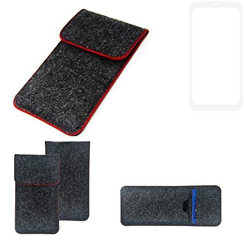 K-S-Trade Handy Schutz Hülle Für Nubia Z18 Schutzhülle Handyhülle Filztasche Pouch Tasche Hülle Sleeve Filzhülle Dunkelgrau Roter Rand