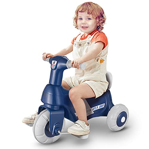 Toddler Electric Tricycle 2 Way Maneuverability Ride On Toys, Electric Motorcycle for Kids, 6V...