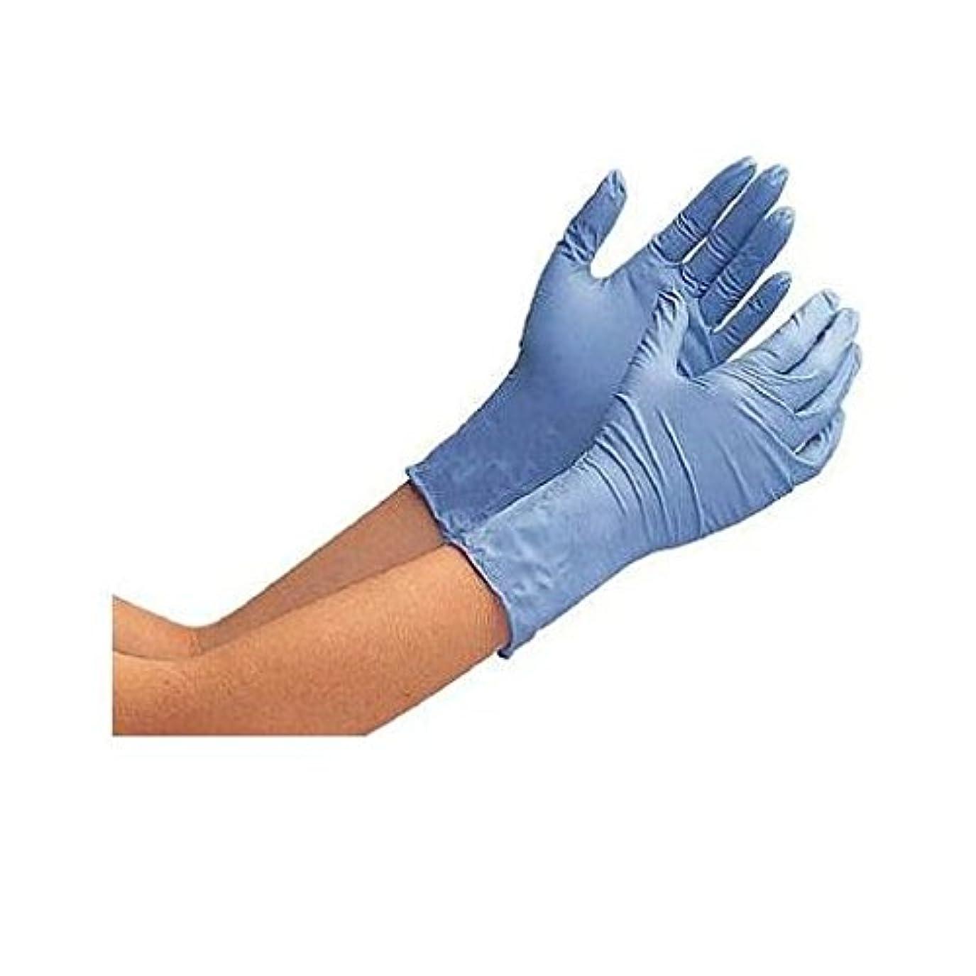 ルアー迷彩縁HV72339 ニトリル使い捨て手袋 厚手 粉なし 100枚入 青 LL
