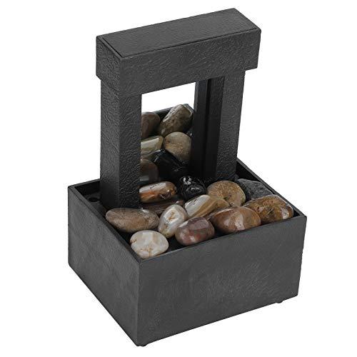 Zerodis Fuente de Mesa, Fuente de Agua Interior LED USB Fuente de Mesa de Cascada iluminada con Piedras para la decoración del hogar de la Oficina
